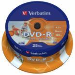 Диск DVD Verbatim 4.7Gb 16X CakeBox 25шт Printable Фото