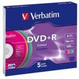 Диск DVD Verbatim 4.7Gb 16X SlimBox 5 шт Color Фото