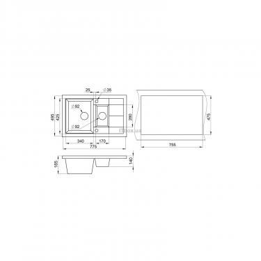 Мойка кухонная Minola MPG 5360-77 Черный Фото 1